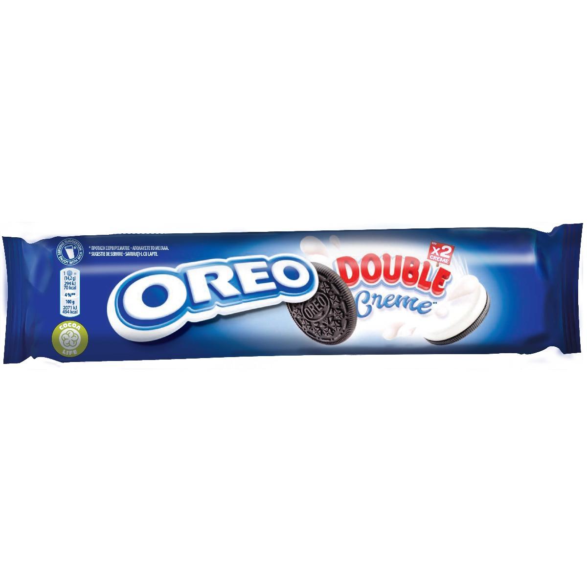 Biscuiti cu cacao si crema de vanilie Oreo Double Cream, 185 g imagine
