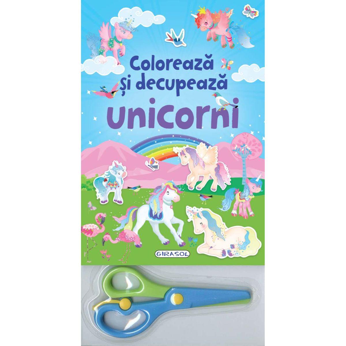 Coloreaza si decupeaza Unicorni albastri