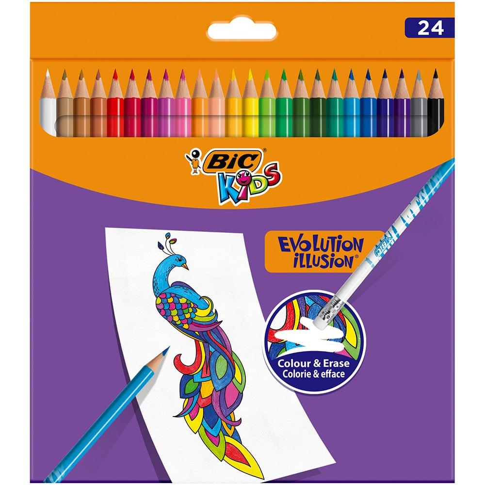 Creioane colorate cu guma de sters Evolution Illusion Bic, 24 culori