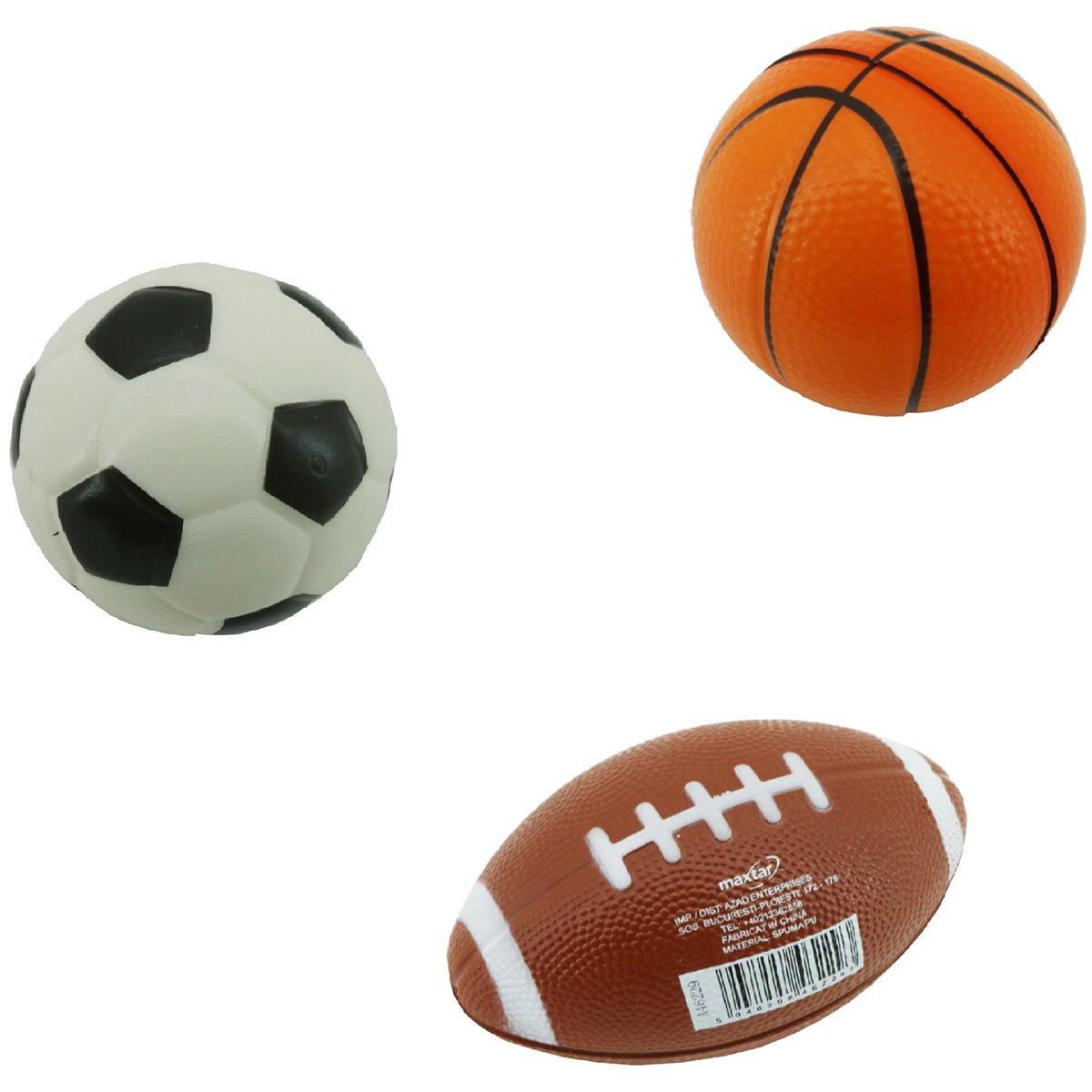 Set 3 mingi din spuma, fotbal, baschet, rugby Maxtar