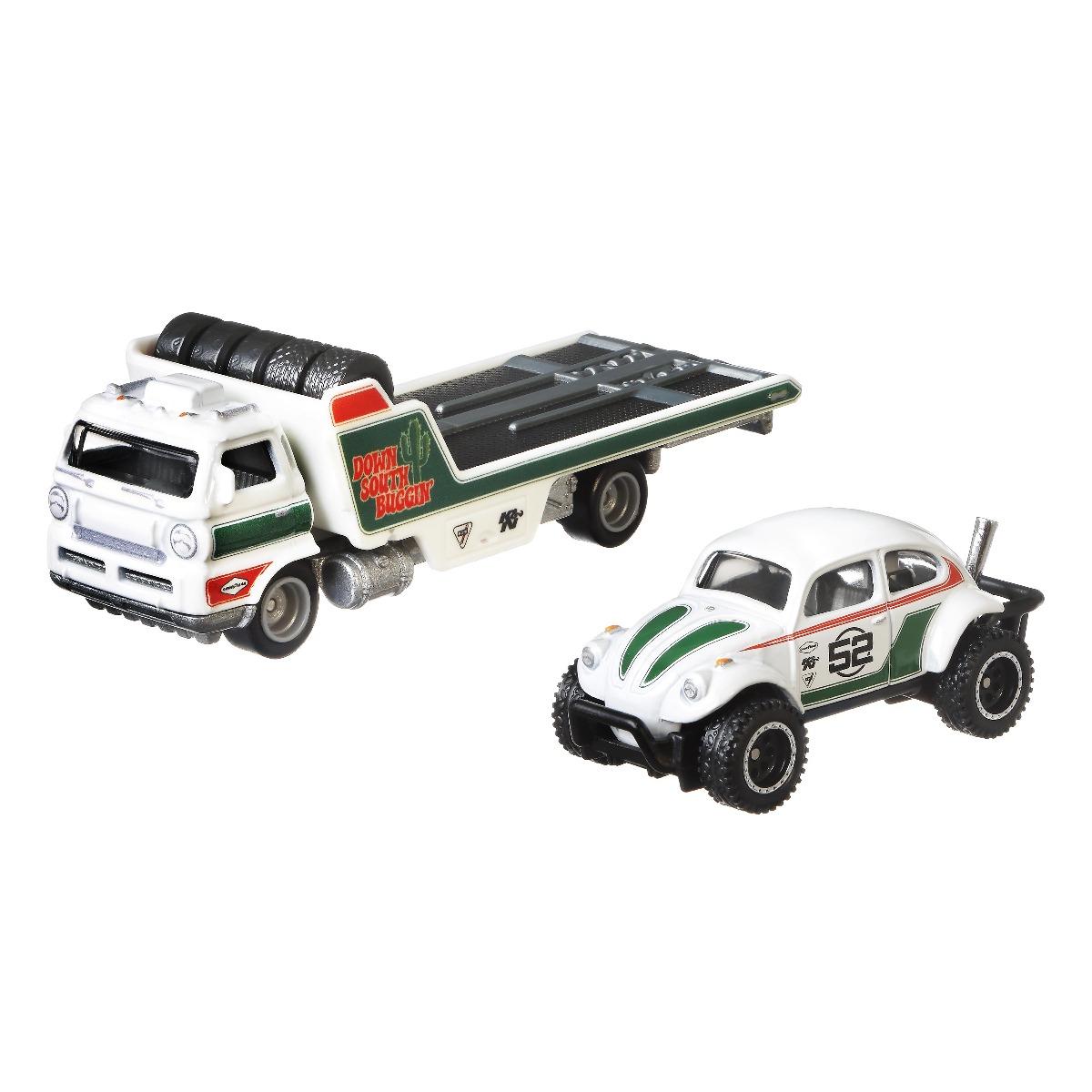 Transportator cu masinuta Hot Wheels, Volkswagen Baja Bug, Wide Open, 1:64 imagine