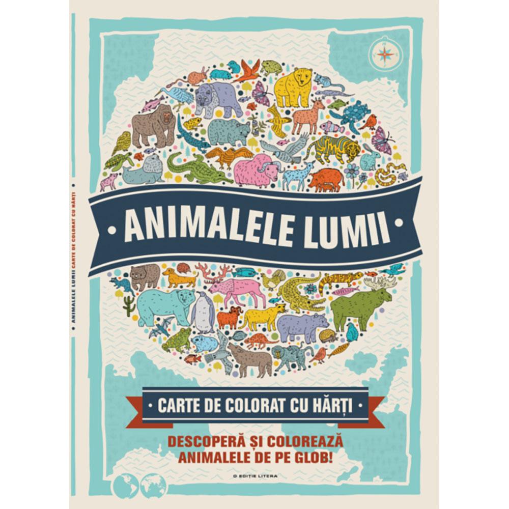 Carte de colorat cu harti Editura Litera, Animalele lumii