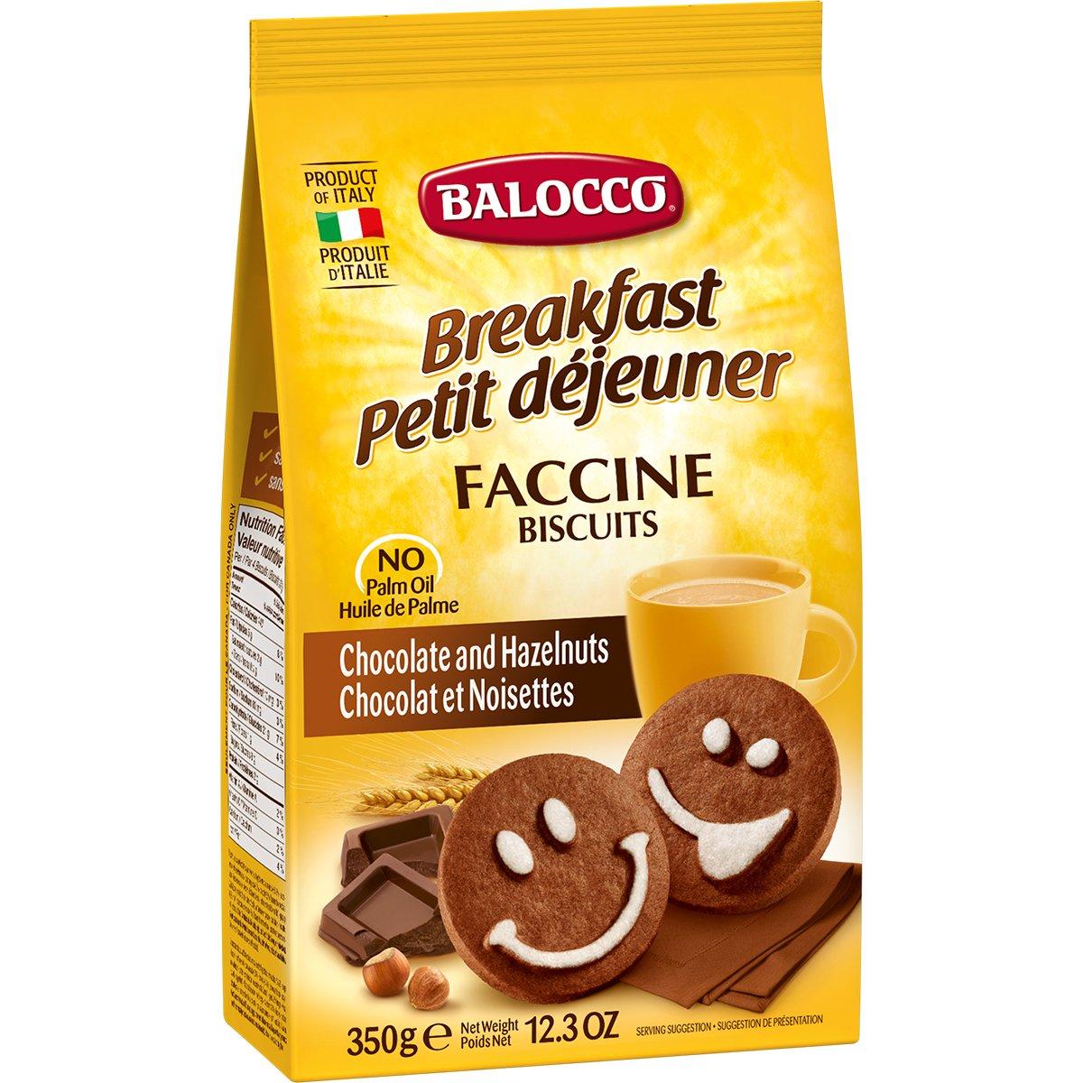 Biscuiti cu ciocolata si alune Balocco Faccine, 350 g imagine
