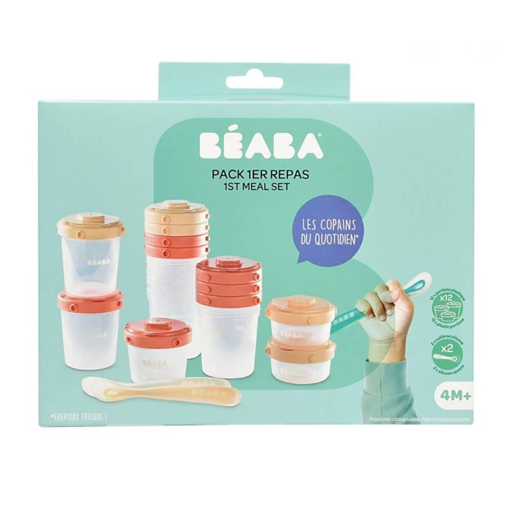 Set 12 recipiente ermetice si 2 lingurite silicon Beaba, Roz imagine