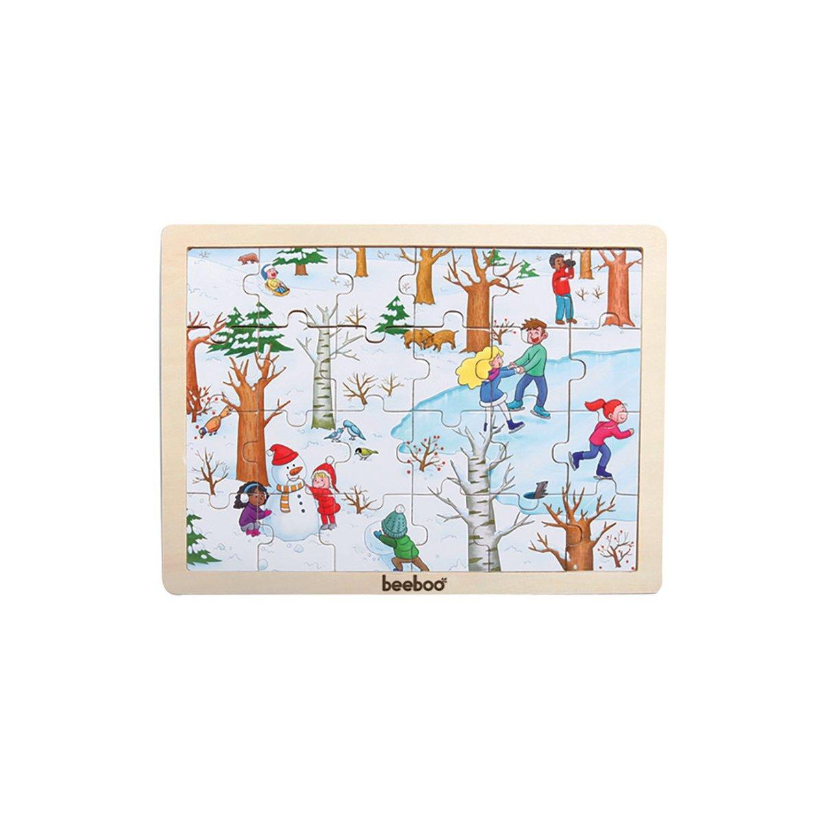 Puzzle din lemn Beeboo, Iarna