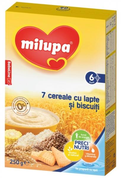 Biscuiti cu lapte Milupa - 7 cereale 250g