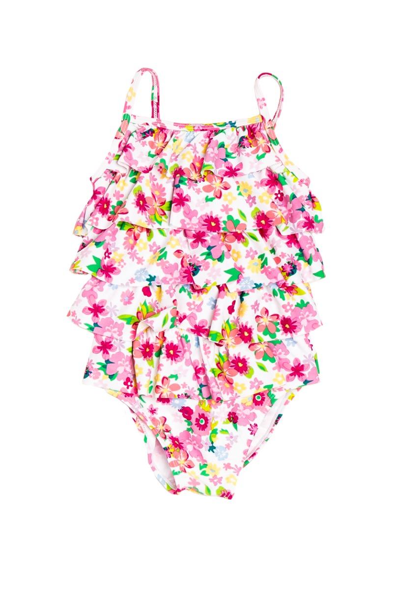 costum baie fete cu imprimeu floral si volane minoti