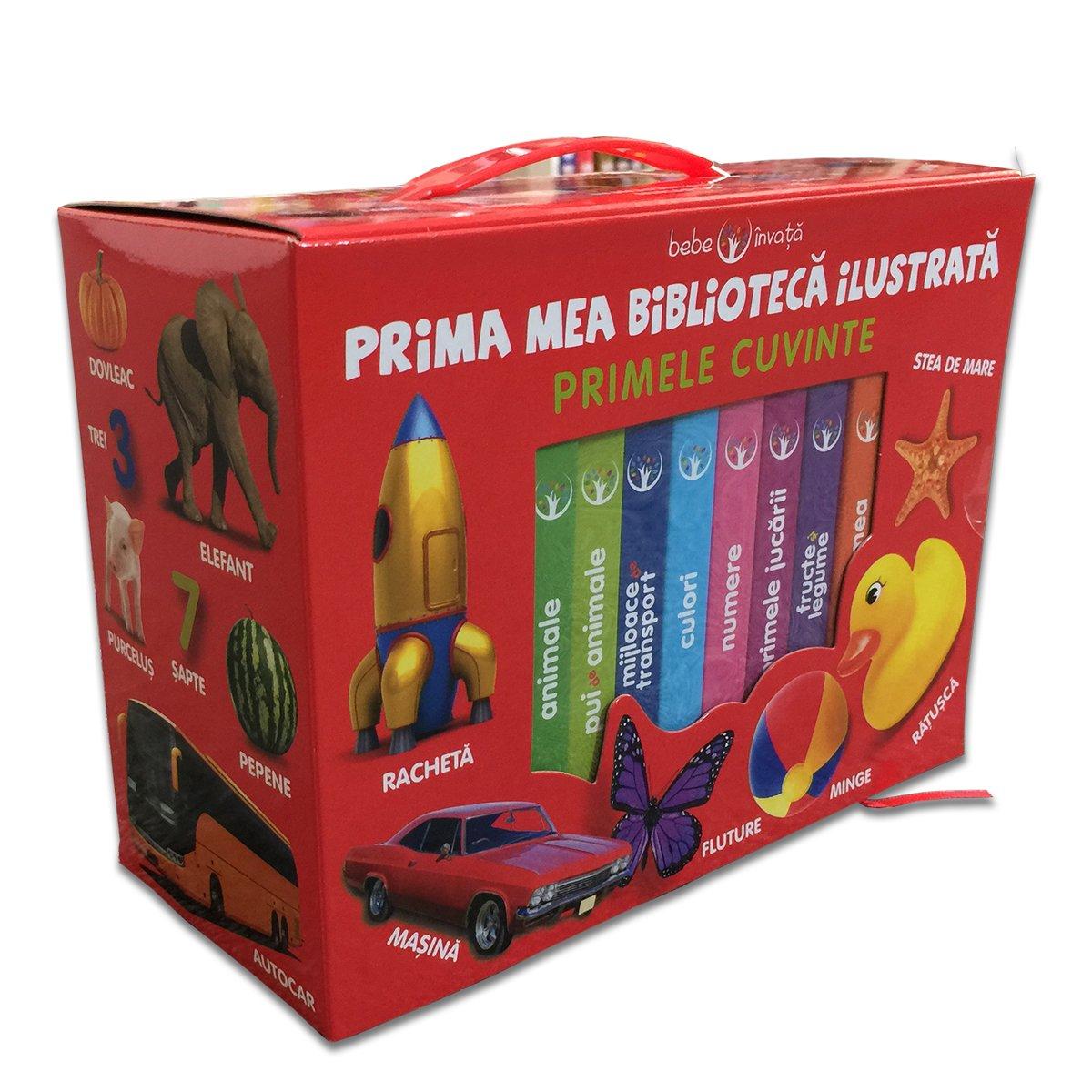 Set cutie cu 8 carticele bebe Editura Litera, Prima mea biblioteca ilustrata, Primele cuvinte