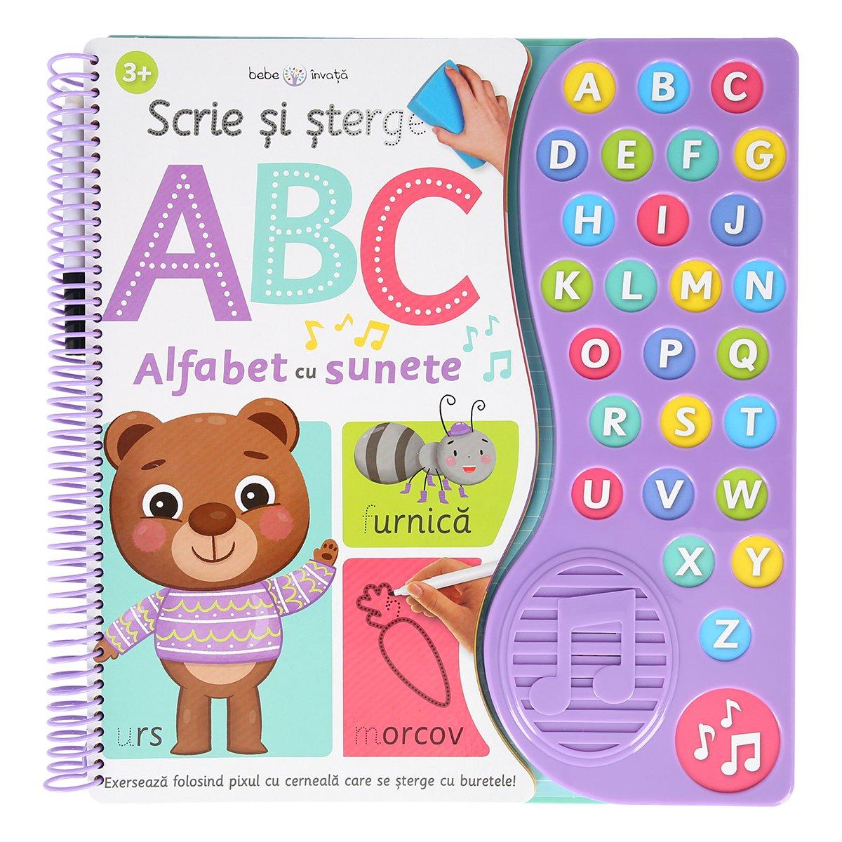 Carte interactiva Editura Litera, Scrie si sterge, ABC, alfabet cu sunete