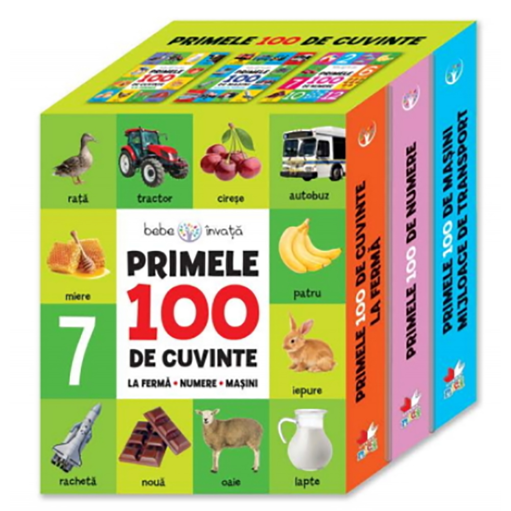 Carte Editura Litera, Cutie. Primele 100 de cuvinte. La ferma-numere-masini