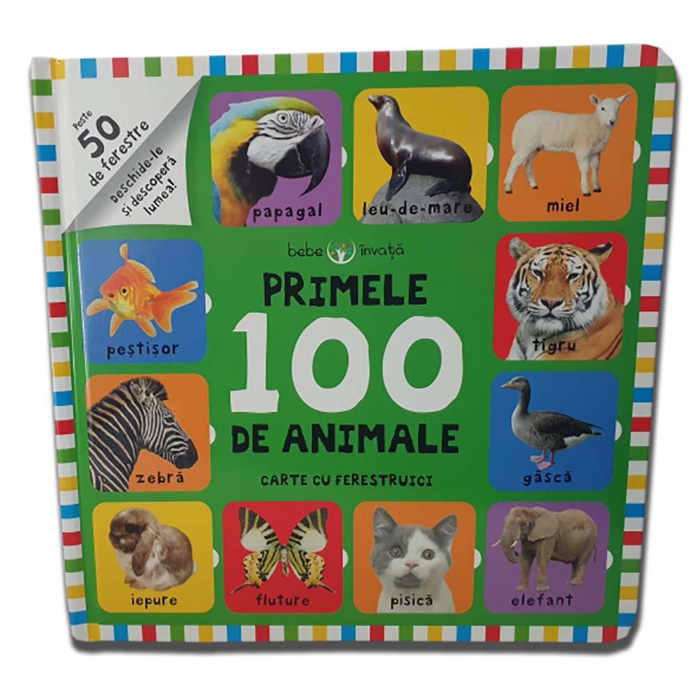 Carte Editura Litera, Bebe invata. Primele 100 de animale. Carte cu ferestruici