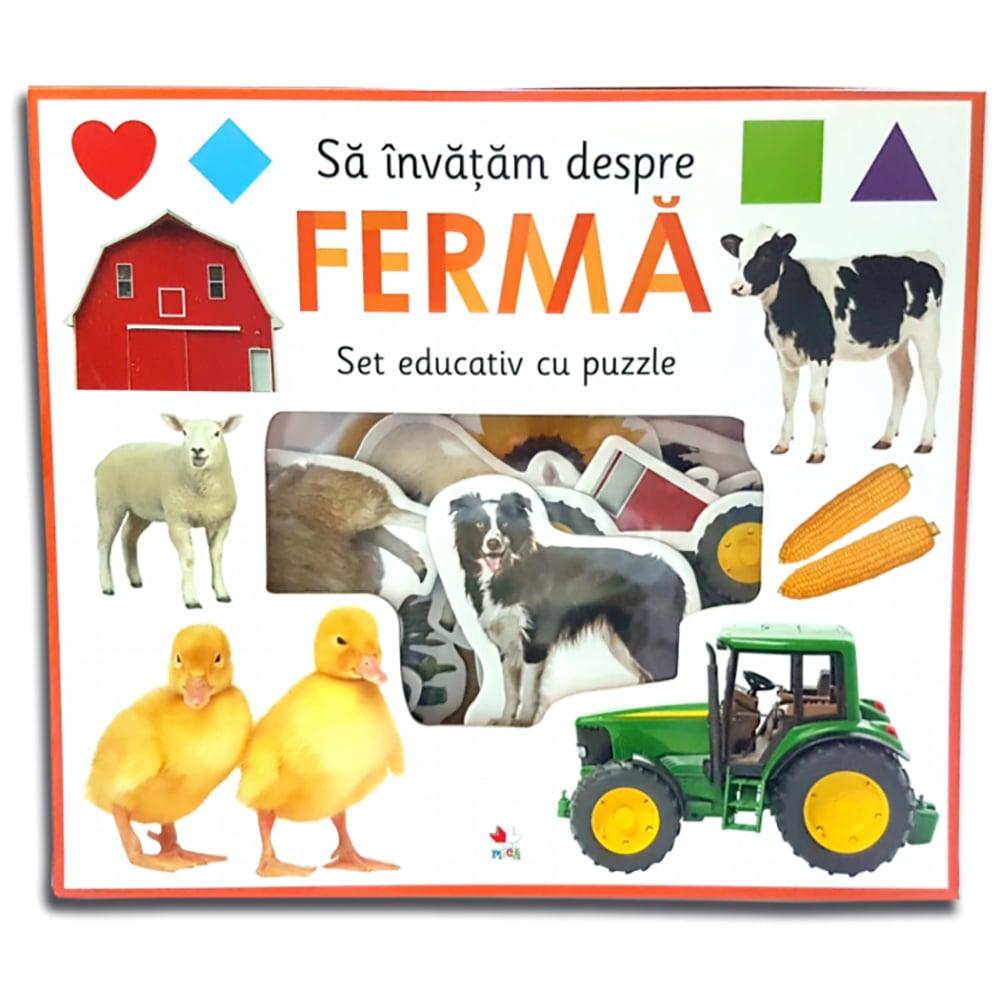 Carte Editura Litera, Sa invatam despre ferma. Set educativ cu puzzle