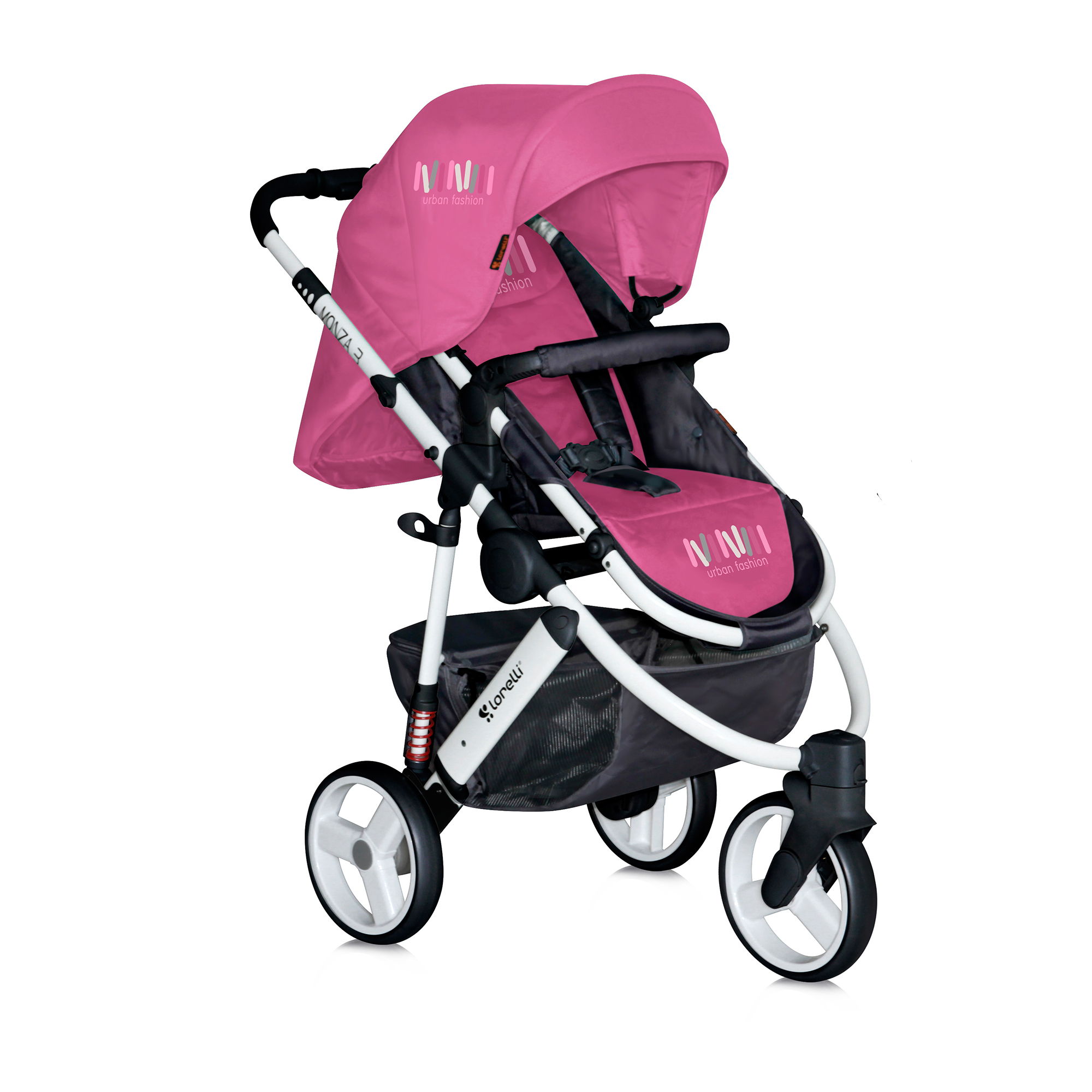 carucior copii 2 in 1 lorelli premium monza 3 - rose & black