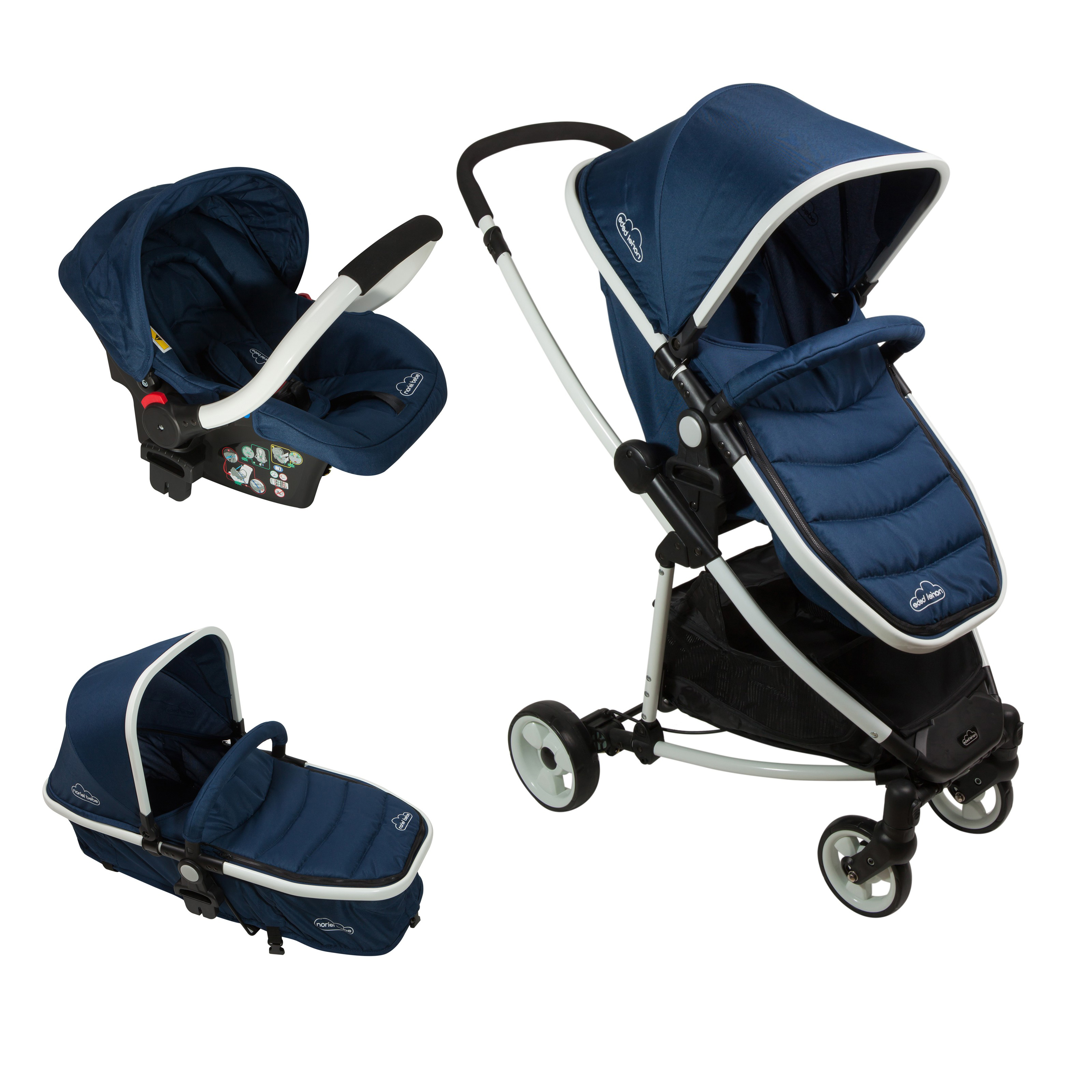 carucior copii 3 in 1 noriel bebe - bleumarin