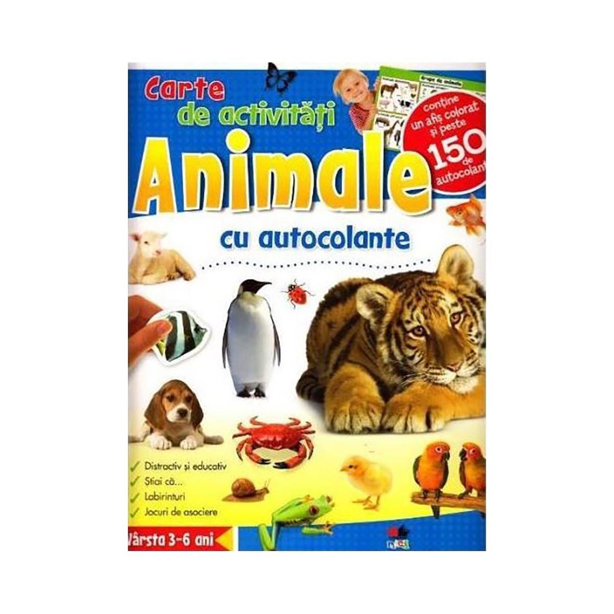 Carte de activitati cu autocolante Editura Litera, Animale