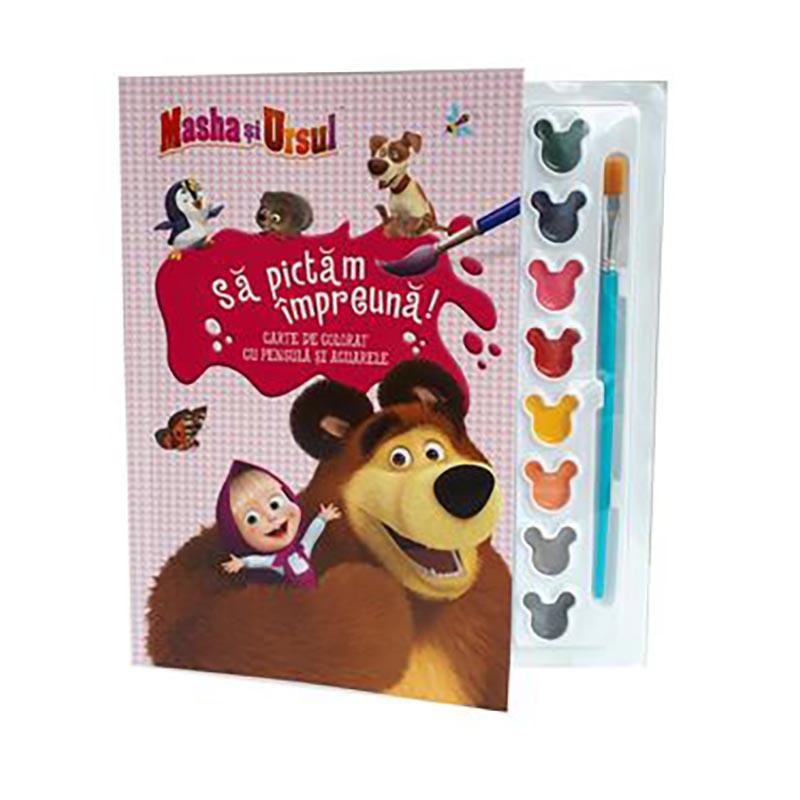 Carte de colorat cu pensula si acuarele, Masha si Ursul