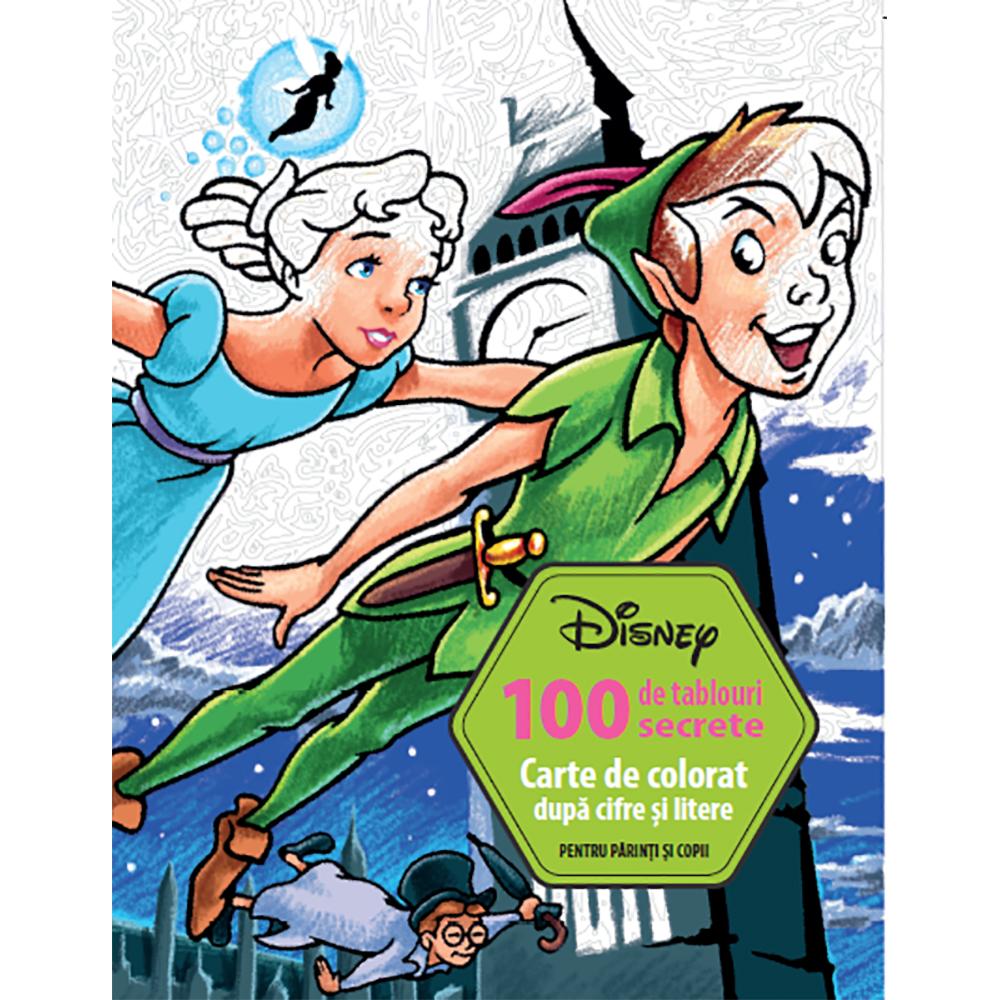 Carte Editura Litera, Disney. 100 de tablouri secrete. Carte de colorat dupa cifre si litere