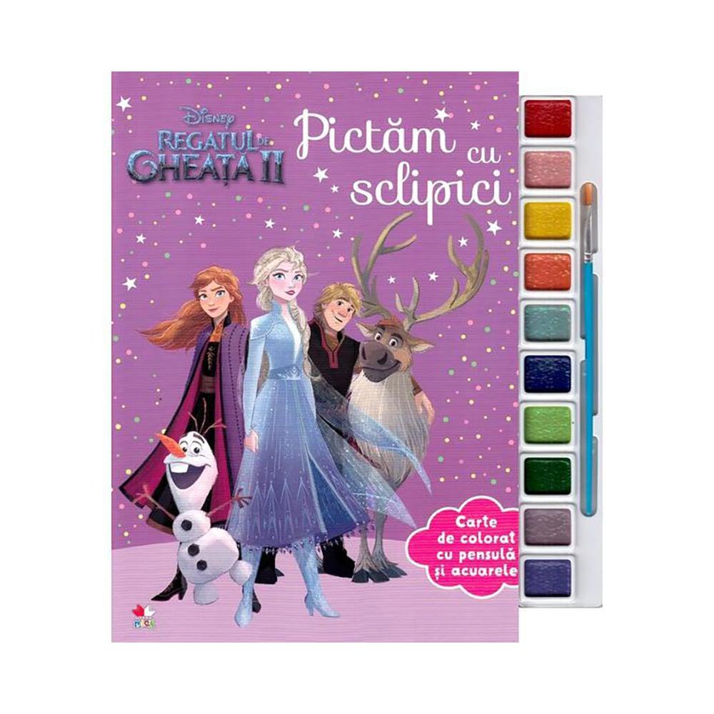 Carte cu acuarele si glitter Disney Frozen 2 - Pictam cu sclipici