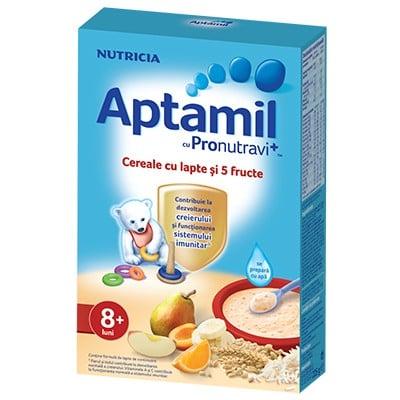Cereale Aptamil Nutricia cu lapte si 5 fructe 225g