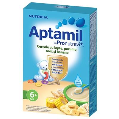 cereale aptamil nutricia cu porumb, orez si banane, 200g