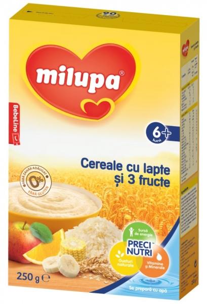 Cereale Milupa cu lapte si 3 fructe 250g