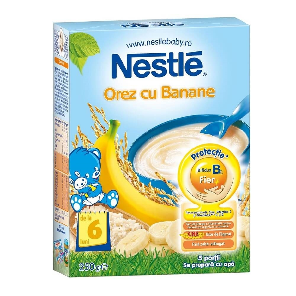 cereale nestle orez cu banane, 250g