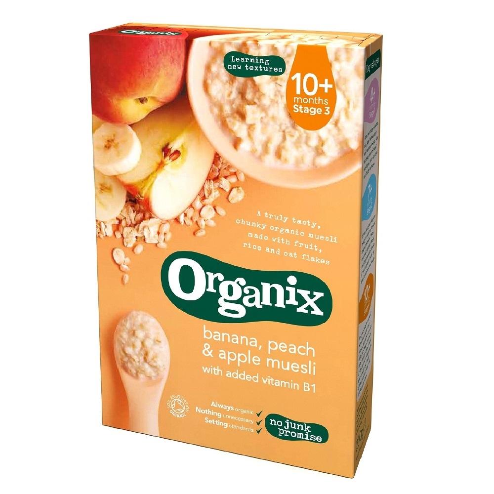 cereale organix - musli, banane, piersici si mere, 200g