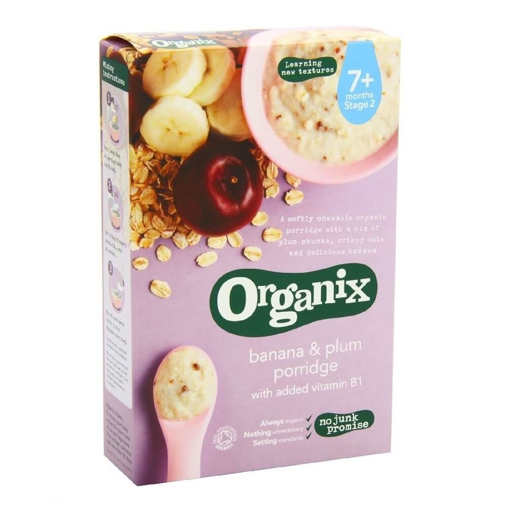 cereale organix - ovaz, orez, banane si prune, 200g