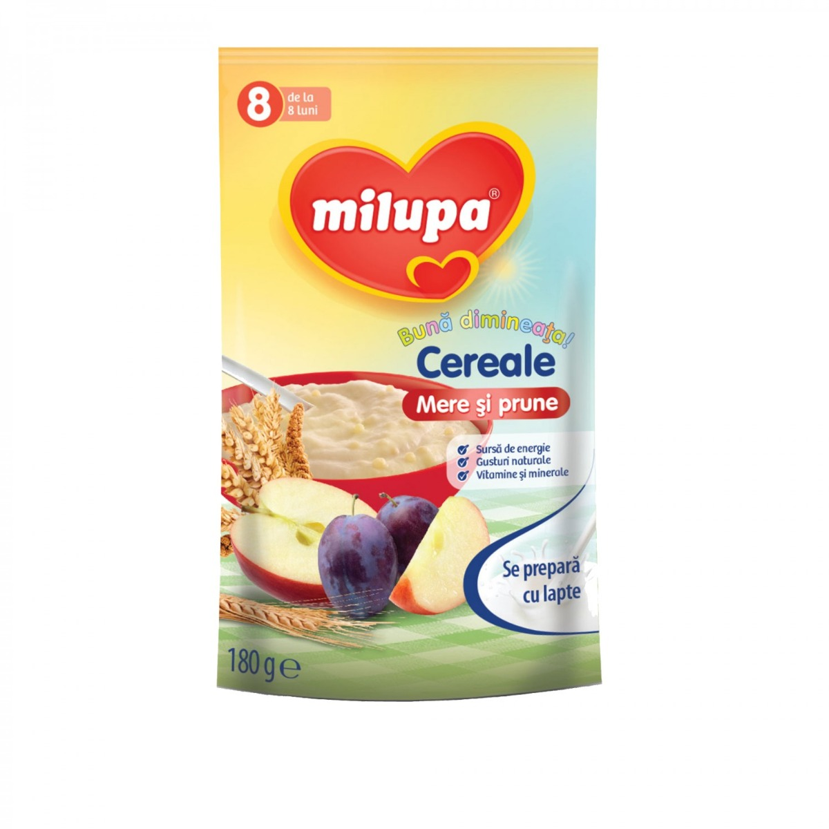 Cereale fara lapte Milupa Buna dimineata, Mere si Prune, 180g, 8 luni+