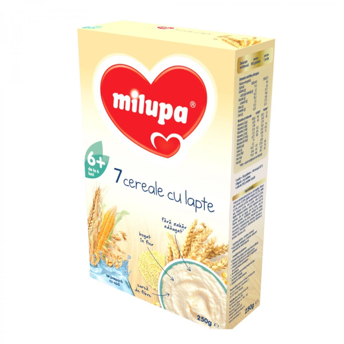 Cereale Milupa - 7 cereale cu lapte, 250g