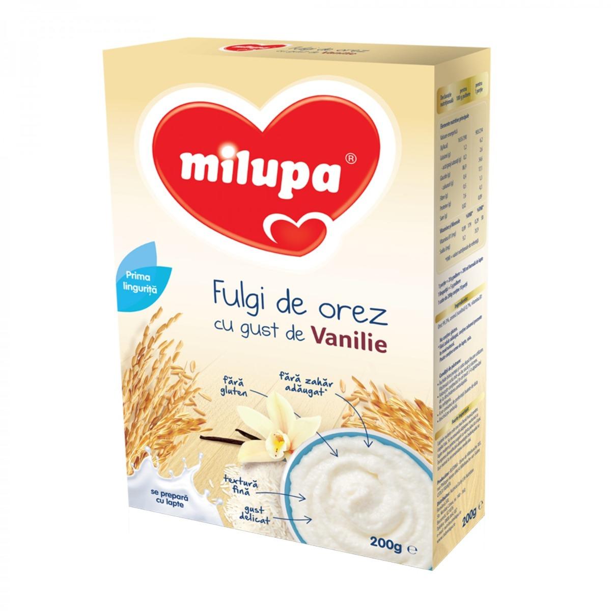 Cereale Milupa Fulgi de orez cu gust de vanilie 200g
