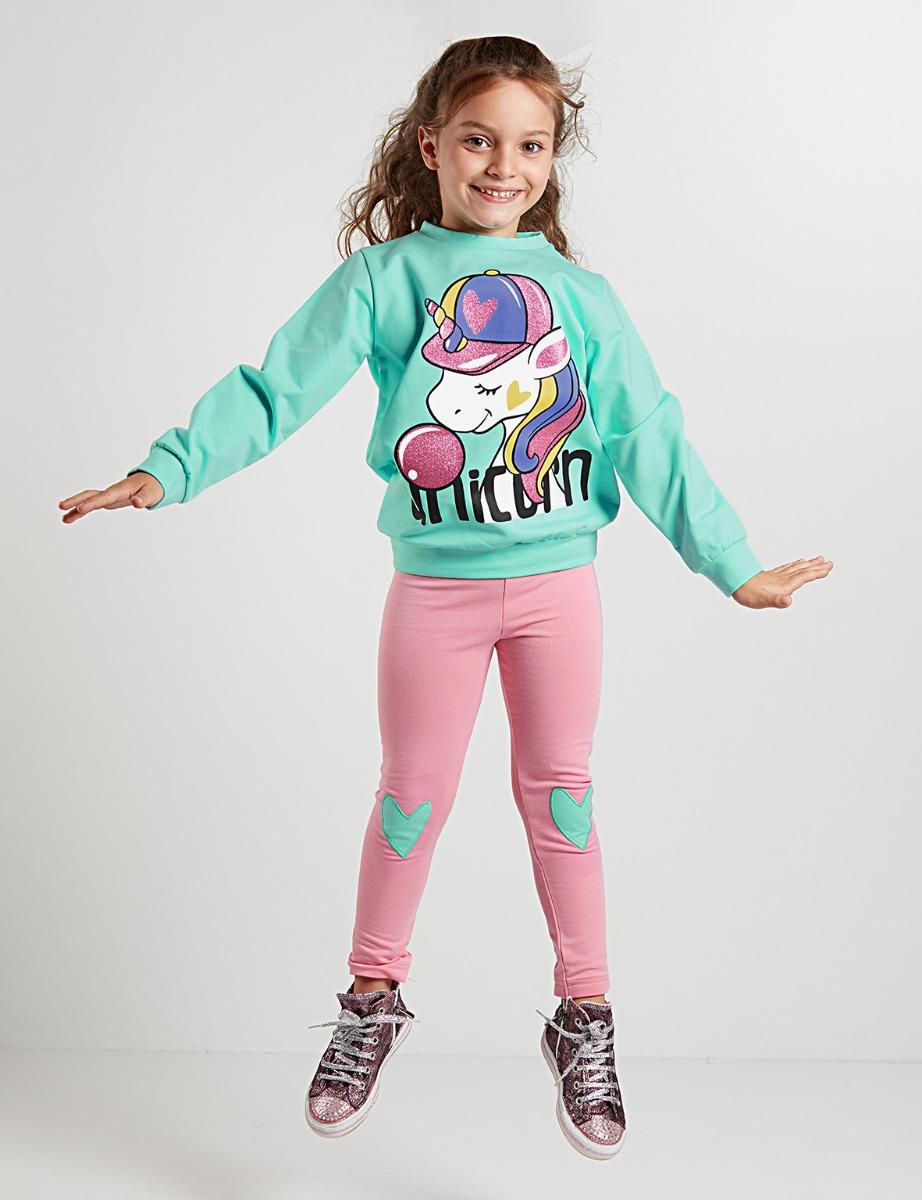 Set bluza sport si colanti Bubble Unicorn Denokids