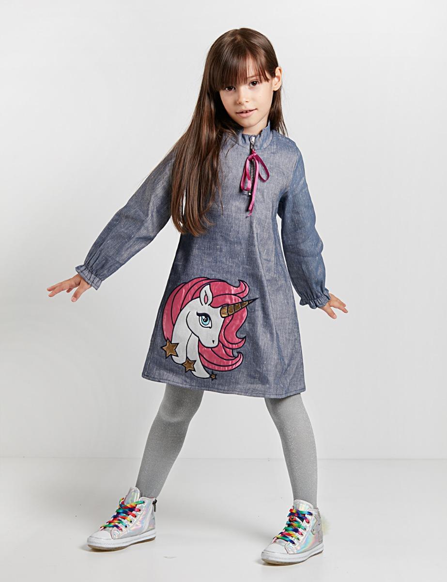 Rochie cu maneca lunga si model aplicat Unicorn Denokids