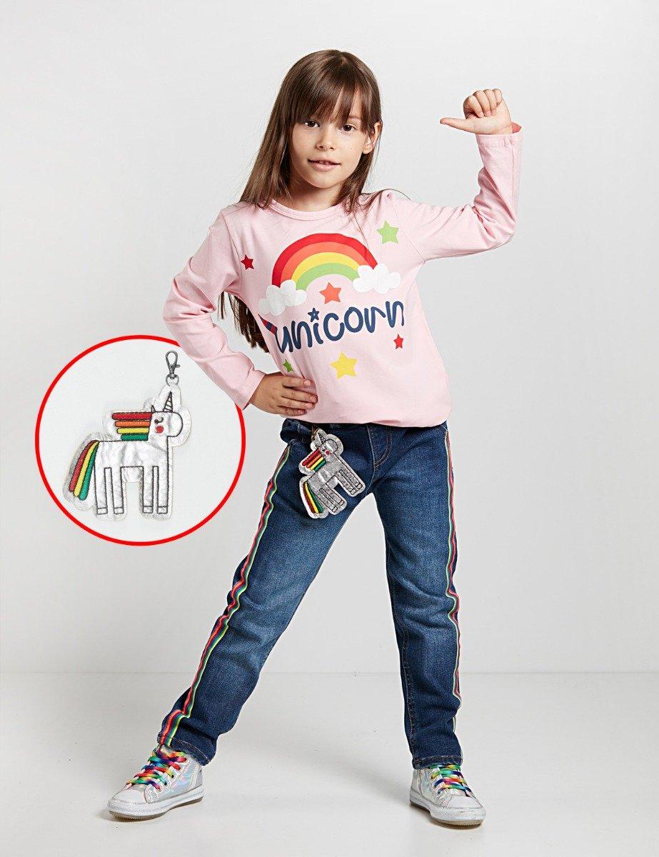 Set bluza si pantaloni jeans cu breloc Unicorn Denokids