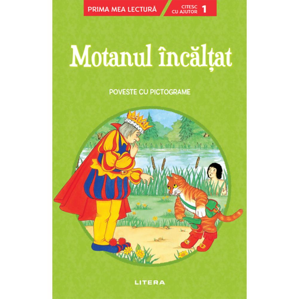 Carte Editura Litera, Motanul incaltat, Poveste cu pictograme