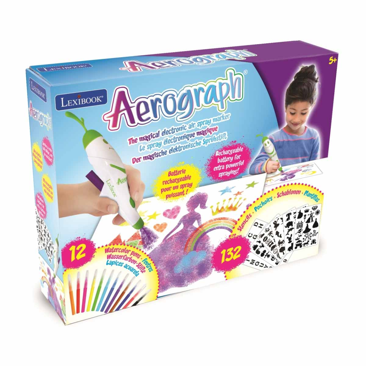Jucarie interactiva Lexibook, Marker eletronic Aerografh, 12 culori