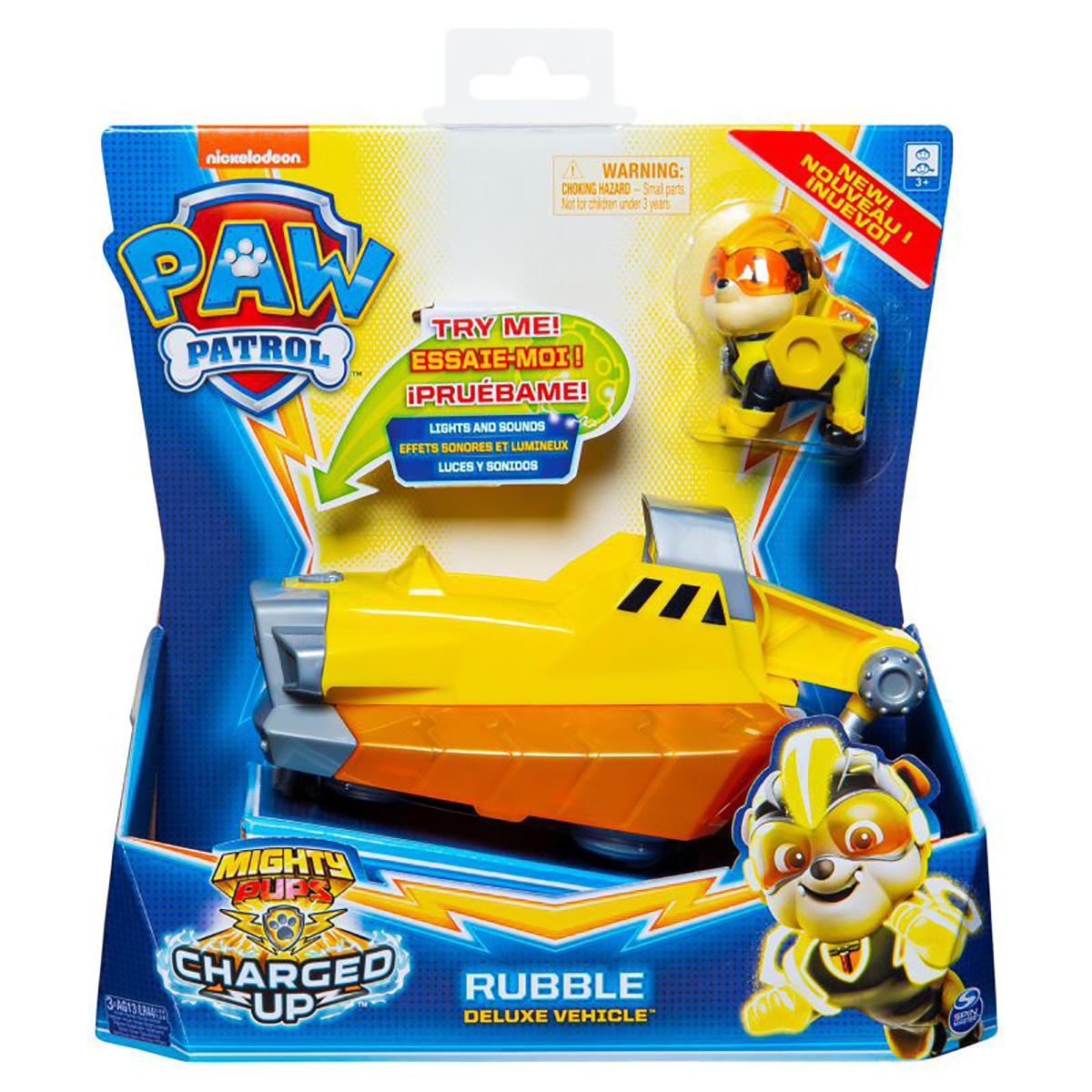Figurina cu vehicul Paw Patrol Deluxe Vehicle Mighty Pups, Rubble 20121274