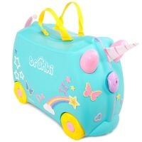 0287-GB01_001w Valiza pentru copii Ride-On Una Unicorn Trunki, Turcoaz, 46 cm