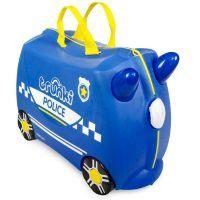 0323-GB01_001w Valiza pentru copii Ride-On Masina de Politie Percy, Albastru, 46 cm