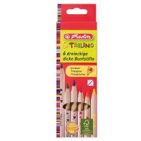 10103935_001w Set 6 creioane colorate, Herlitz, triunghiulare, Trilino