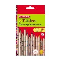 10412062_001w Set 12 creioane colorate, Herlitz, triunghiulare, Trilino