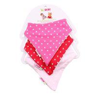17309005450OS_001w Set 3 bavetele triunghiulare cu stelute pentru bebelusi Minene, Roz