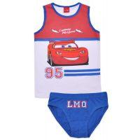 20191013AB Set lenjerie de baieti cu imprimeu Cars, McQueen, Alb/Albastru