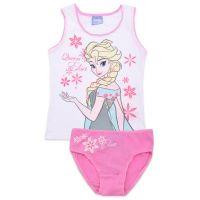 20191018 Set lenjerie de fete cu imprimeu Frozen, Queen Elsa, Alb/Roz