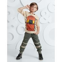 20204225 Set bluza cu maneca lunga si pantaloni sport Mushi Skateboard 20204225