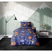 20212102_001w Set 3 piese lenjerie pat copii Viada Roket, 150 x 200 cm