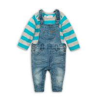 3201023 Set body cu maneca scurta si salopeta jeans Minoti Leaf