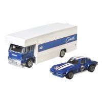 FLF56_007w Transportator cu masinuta Hot Wheels, Custom Corvette Stingray Coupe, Fleet Flyer, 1:64