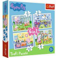 Puzzle 4 in 1, Trefl, Amintiri din vacanta Peppa Pig (12, 15, 20 si 24 piese)