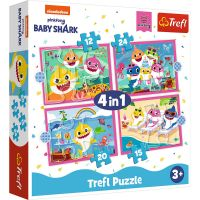 Puzzle 4 in 1, Trefl, Familia rechinilor Baby Shark ( 12, 15, 20 si 24 piese)